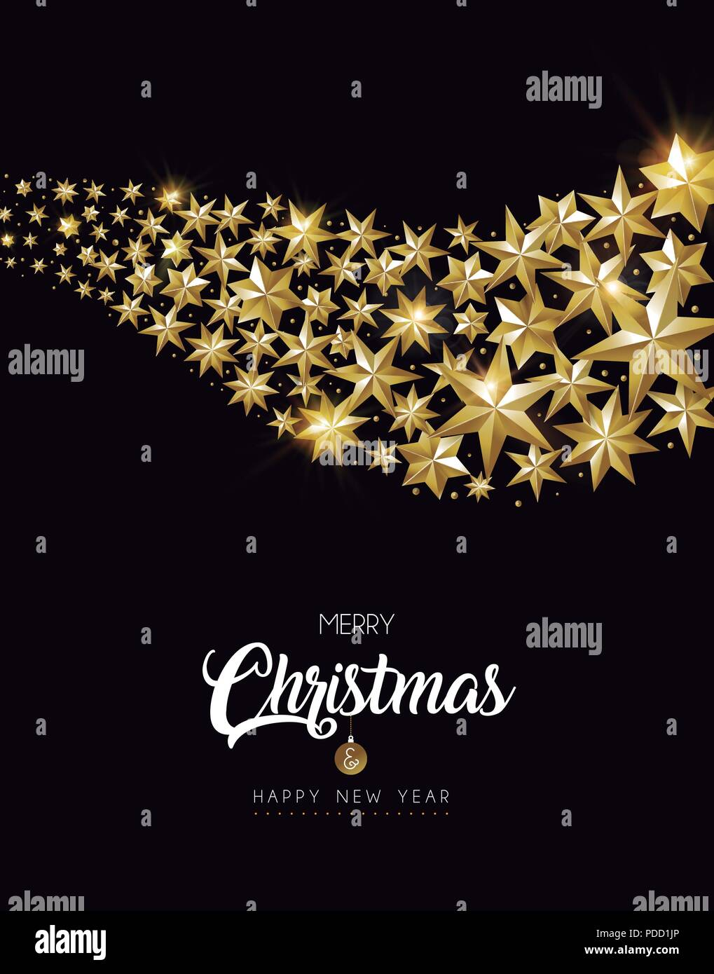 merry christmas and happy new year luxury gold star decoration design ideal for greeting card or elegant holiday party invitation eps10 vector