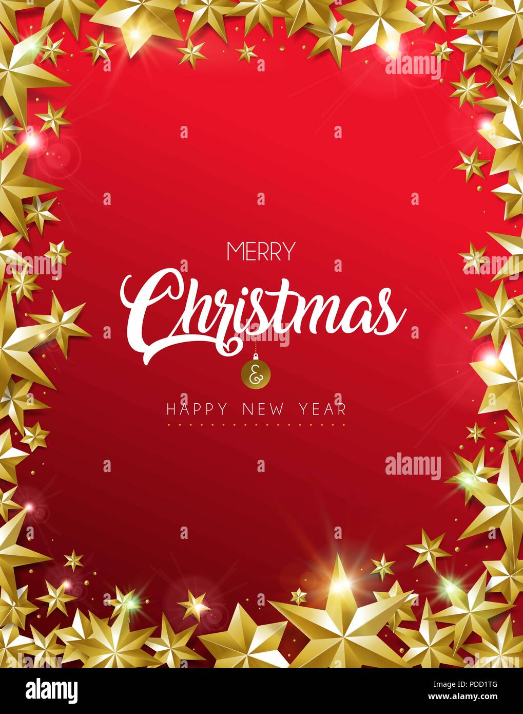 merry christmas new year greeting card with realistic gold stars and glitter making elegant frame shape luxury red background for holiday celebratio