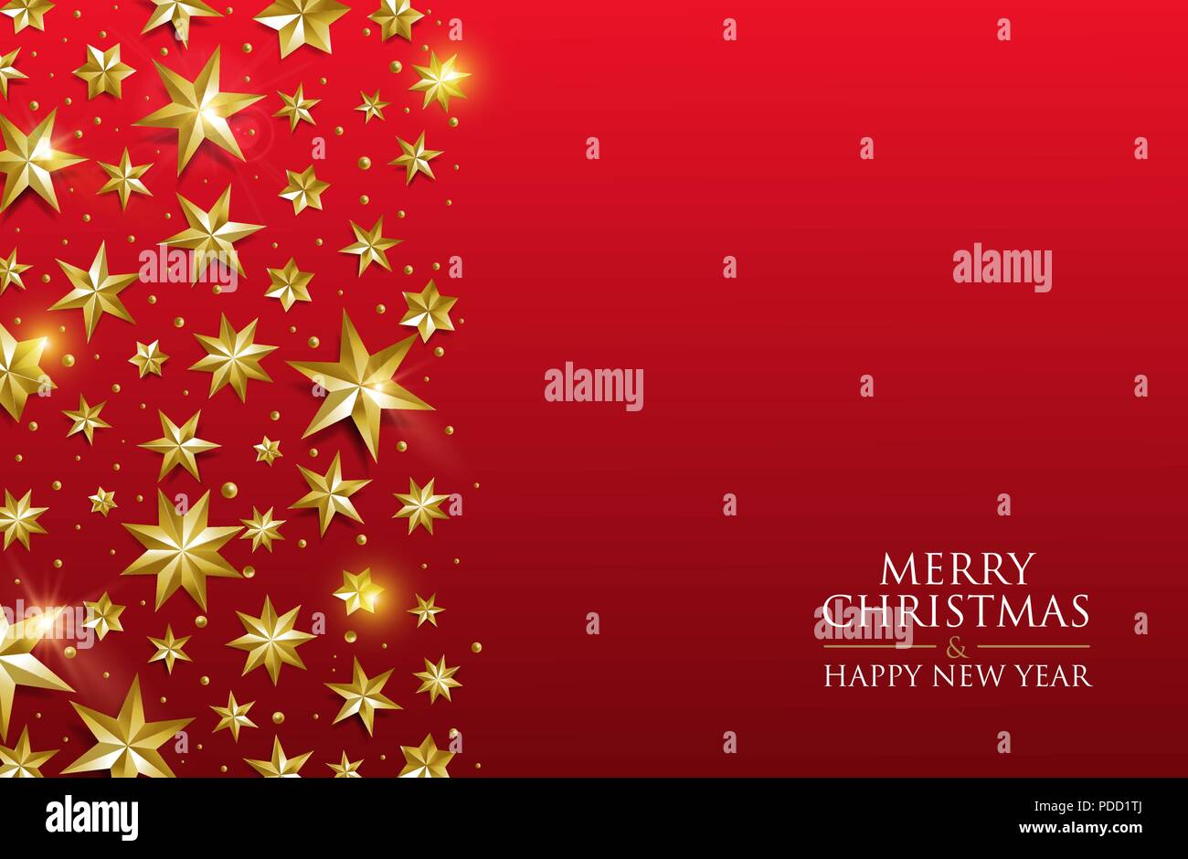 merry christmas and happy new year luxury gold star decoration design on festive red background ideal for greeting card or elegant holiday party invi