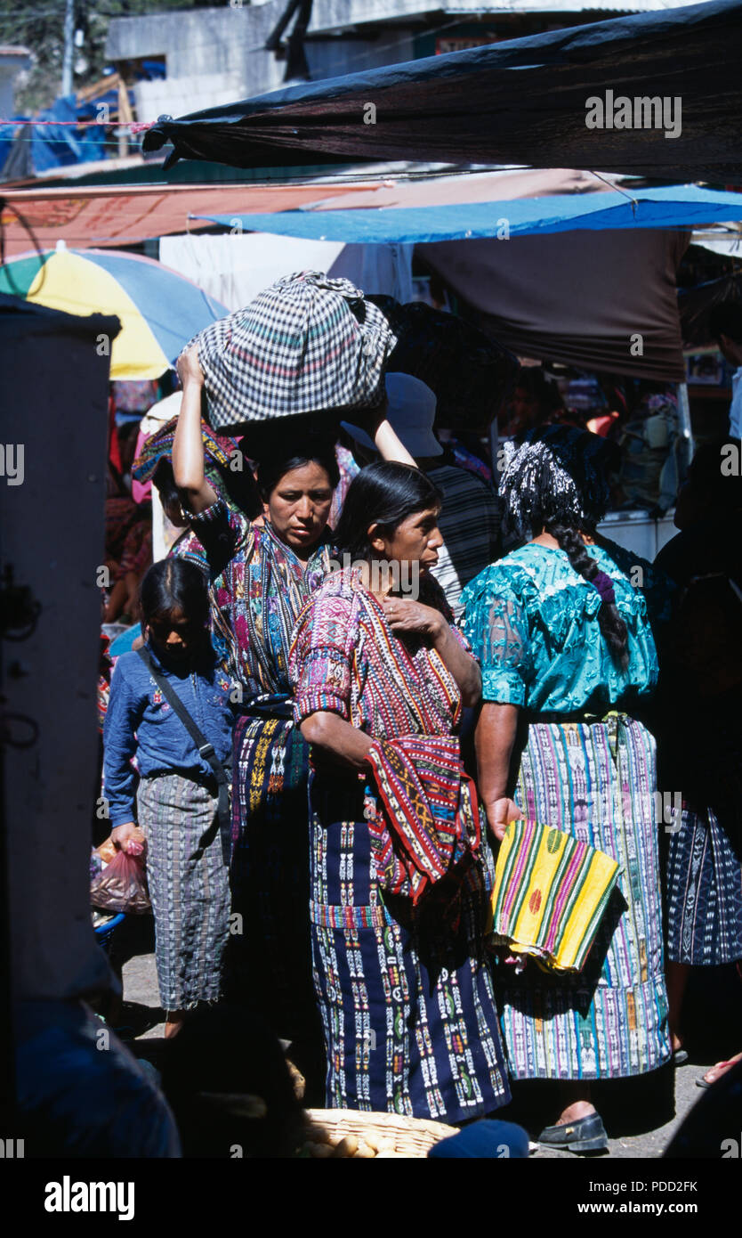 Kaqchikel Maya women wearing traditional dress in the market at in Solola, Guatemala         FOR EDITORIAL USE ONLY - Stock Image