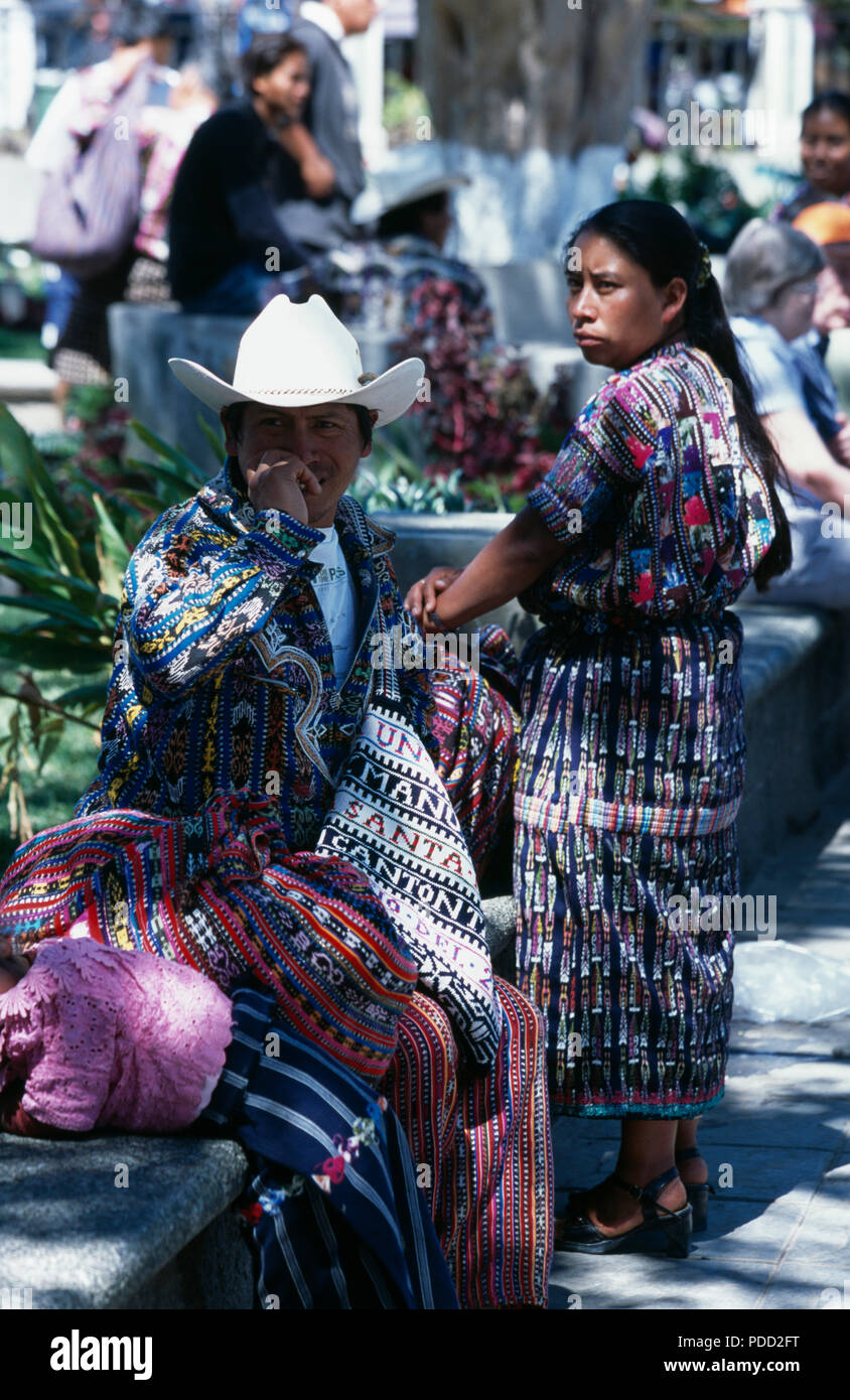 Kaqchikel Maya couple wearing traditional dress in the market at in Solola, Guatemala         FOR EDITORIAL USE ONLY - Stock Image