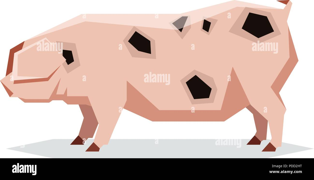 Flat geometric Gloucestershire Old pig - Stock Vector