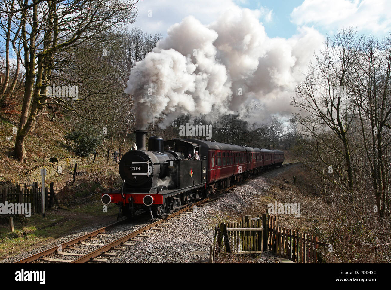47584 passes Summerseat on the East Lancs Railway 29.3.13 - Stock Image