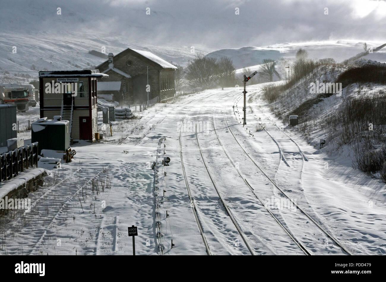 Kirkby Stephen station on 6.1.2010 - Stock Image