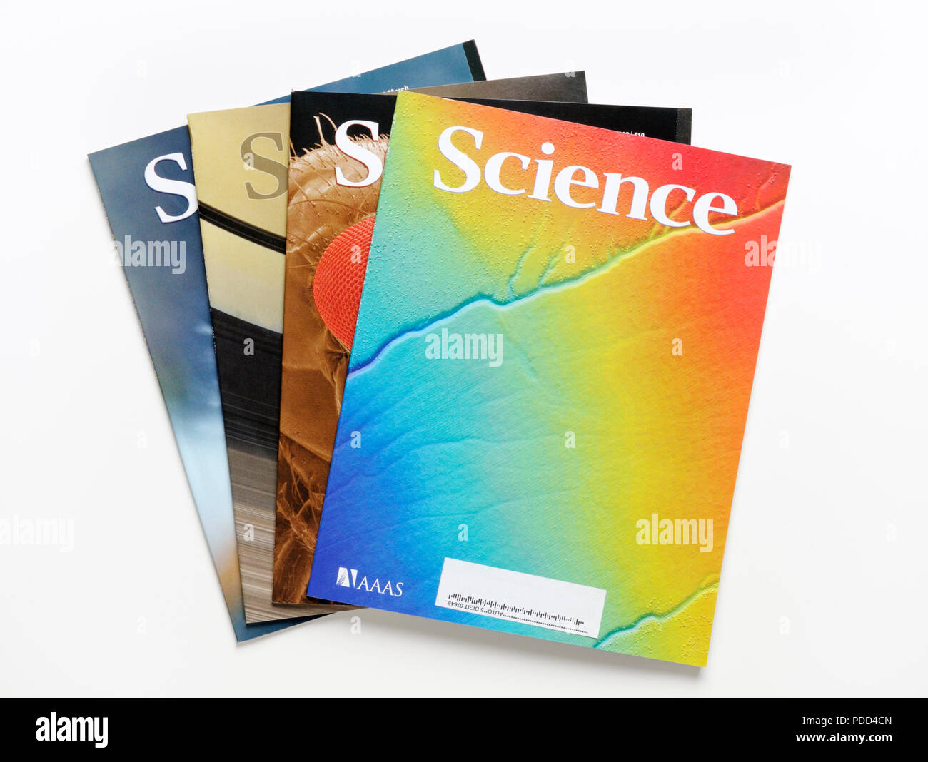 Peer reviewed science research journals.  This journal, Science, is published by the American Association for the Advancement of Science (AAAS). - Stock Image