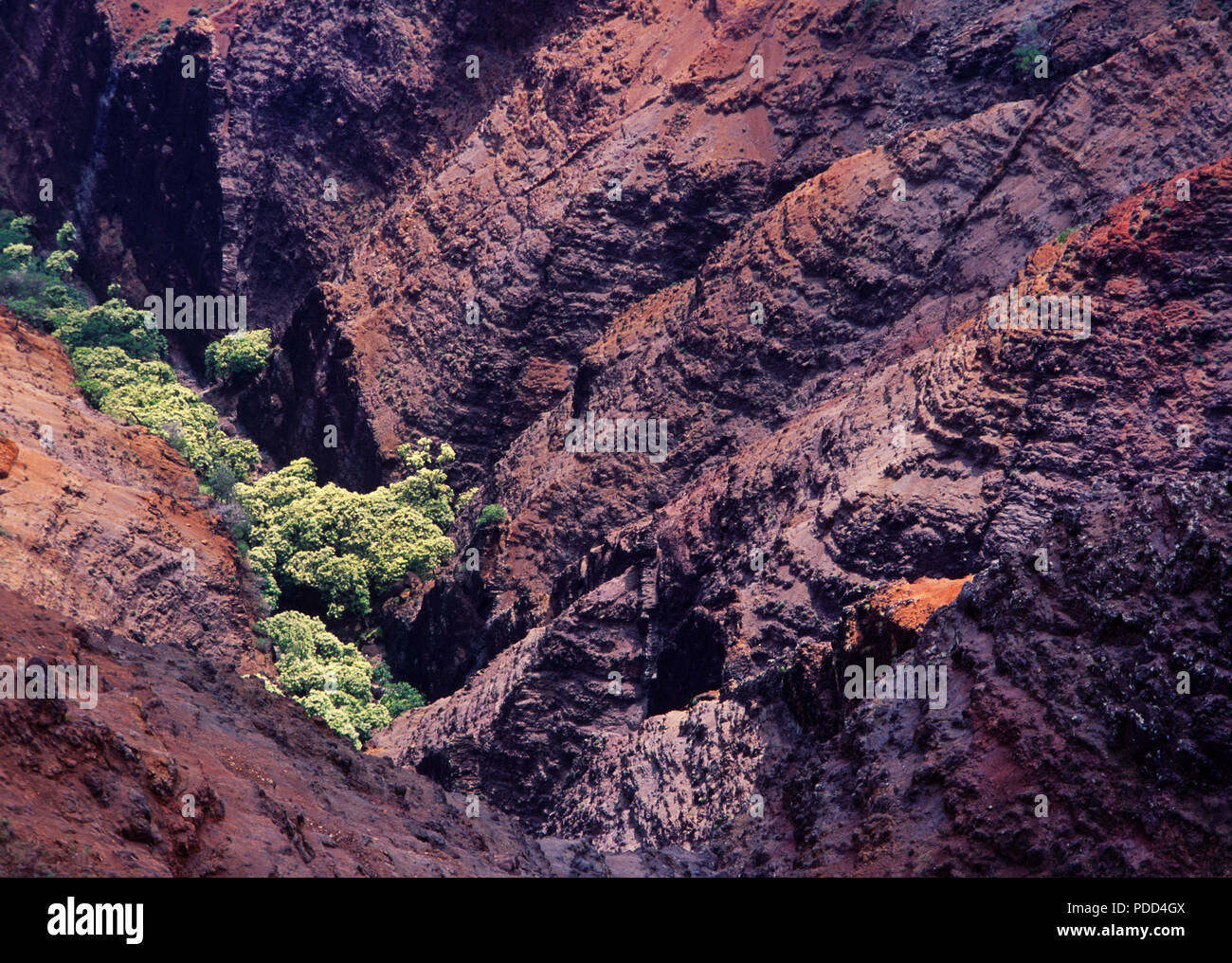 Waimea Canyon showing layers of weathered volcanic basalt from millions of years ago, Kauai, Hawaii. - Stock Image