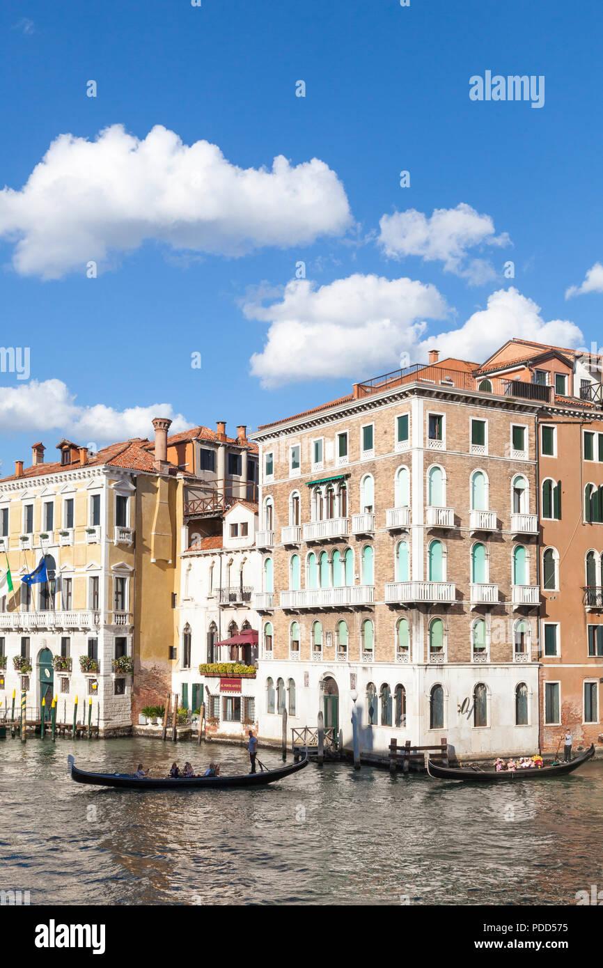 Gondolas on the Grand Canal, Cannaregio at sunset, Venice, Veneto, Italy - Stock Image