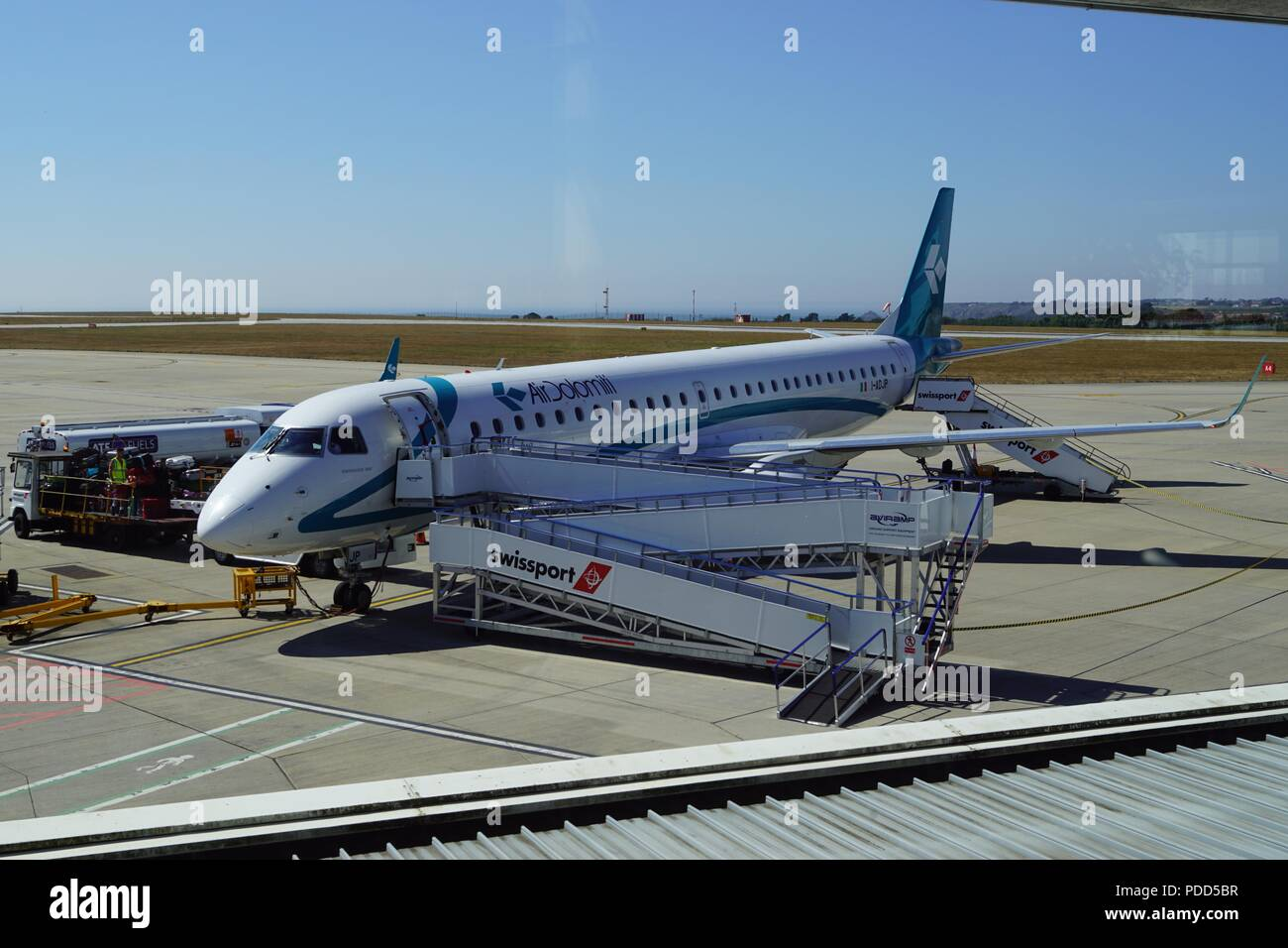 Embraer 195 I-ADJP of Air Dolomiti at Jersey Airport - Stock Image