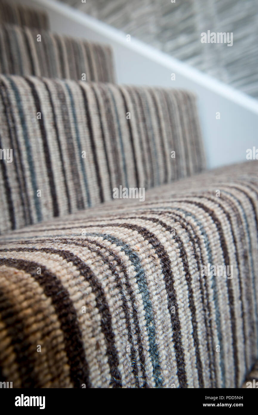 Close Up Of Striped Carpet On A Stair Tread.   Stock Image