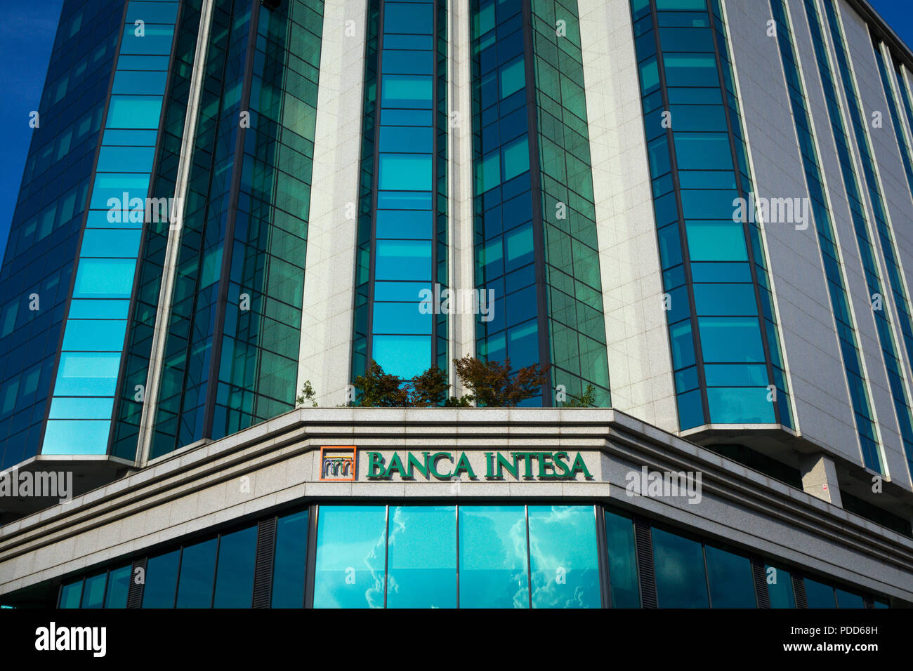 BELGRADE, SERBIA - JULY 27, 2018: Banca Intesa logo on their main office for Serbia. Intesa SanPaolo is one of the biggest Italian commercial and reta - Stock Image