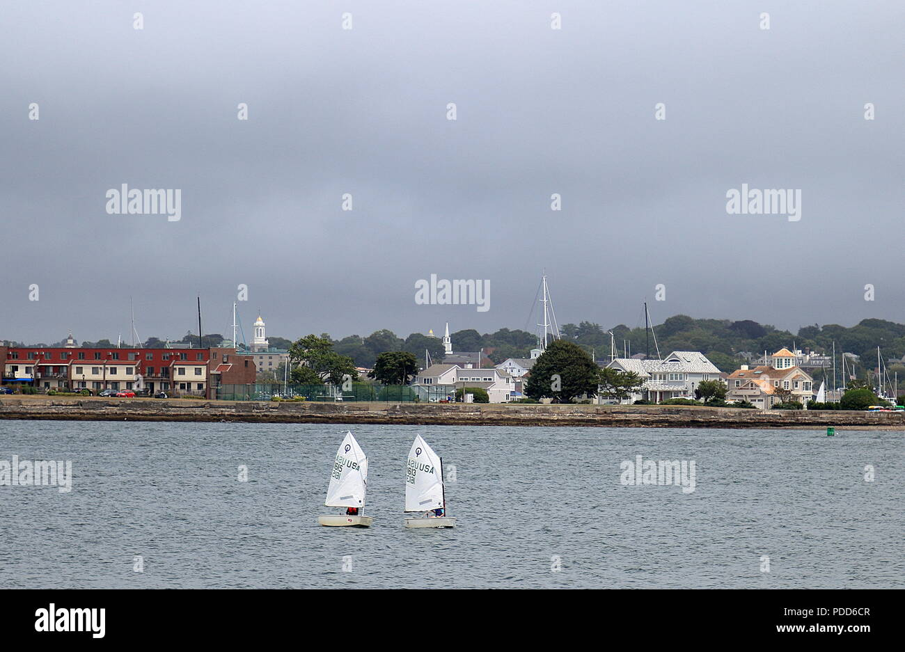 Newport, Rhode Island - July 26, 2015: Sailboats cruising the waters of Narragansett Bay on a summer afternoon - Stock Image