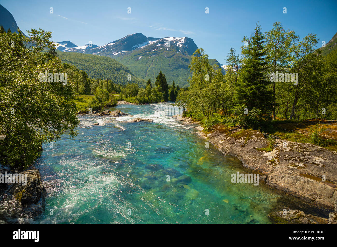 Beautiful mountain river near Trollstigen, Norway - Stock Image