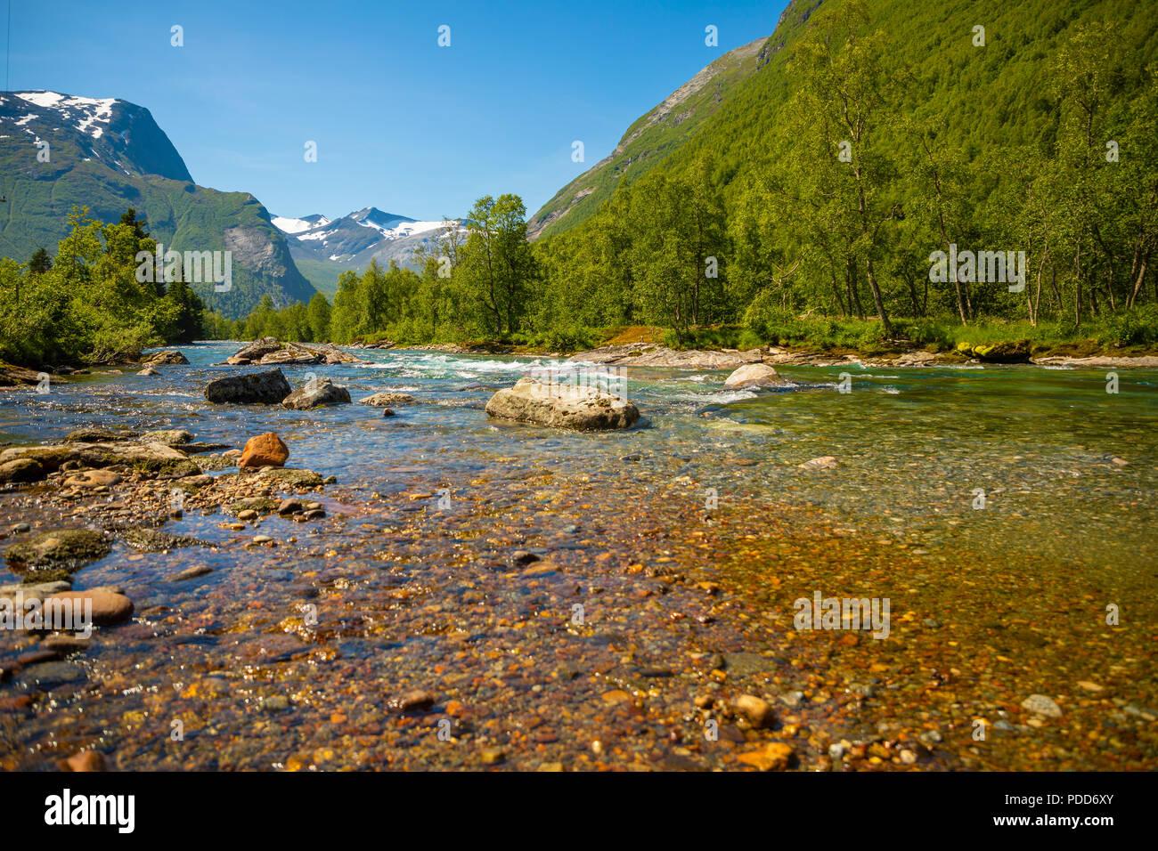 Beautiful mountain river near Trollstigen in Norway - Stock Image