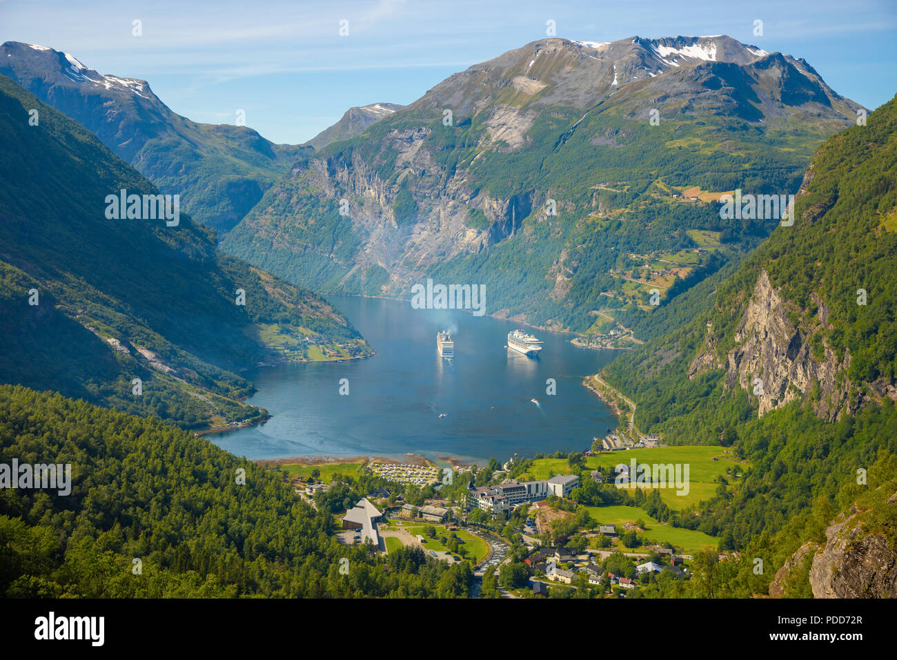 Geiranger fjord from mountain viewpoint, Norway - Stock Image