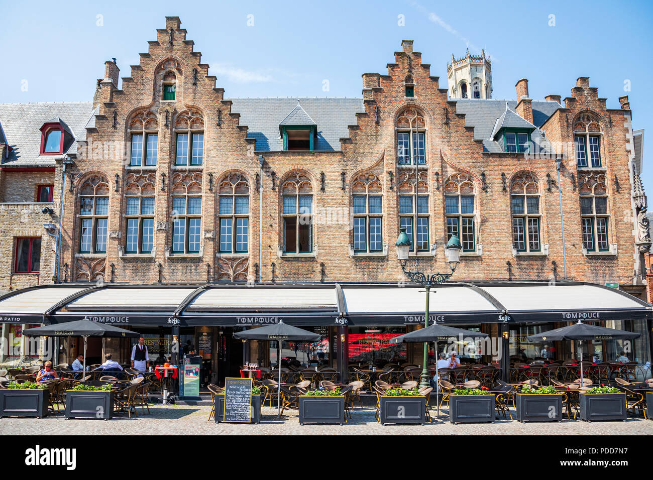 Restaurant and cafe in an Burg, in a traditional styled building, Bruges, Belgium Stock Photo