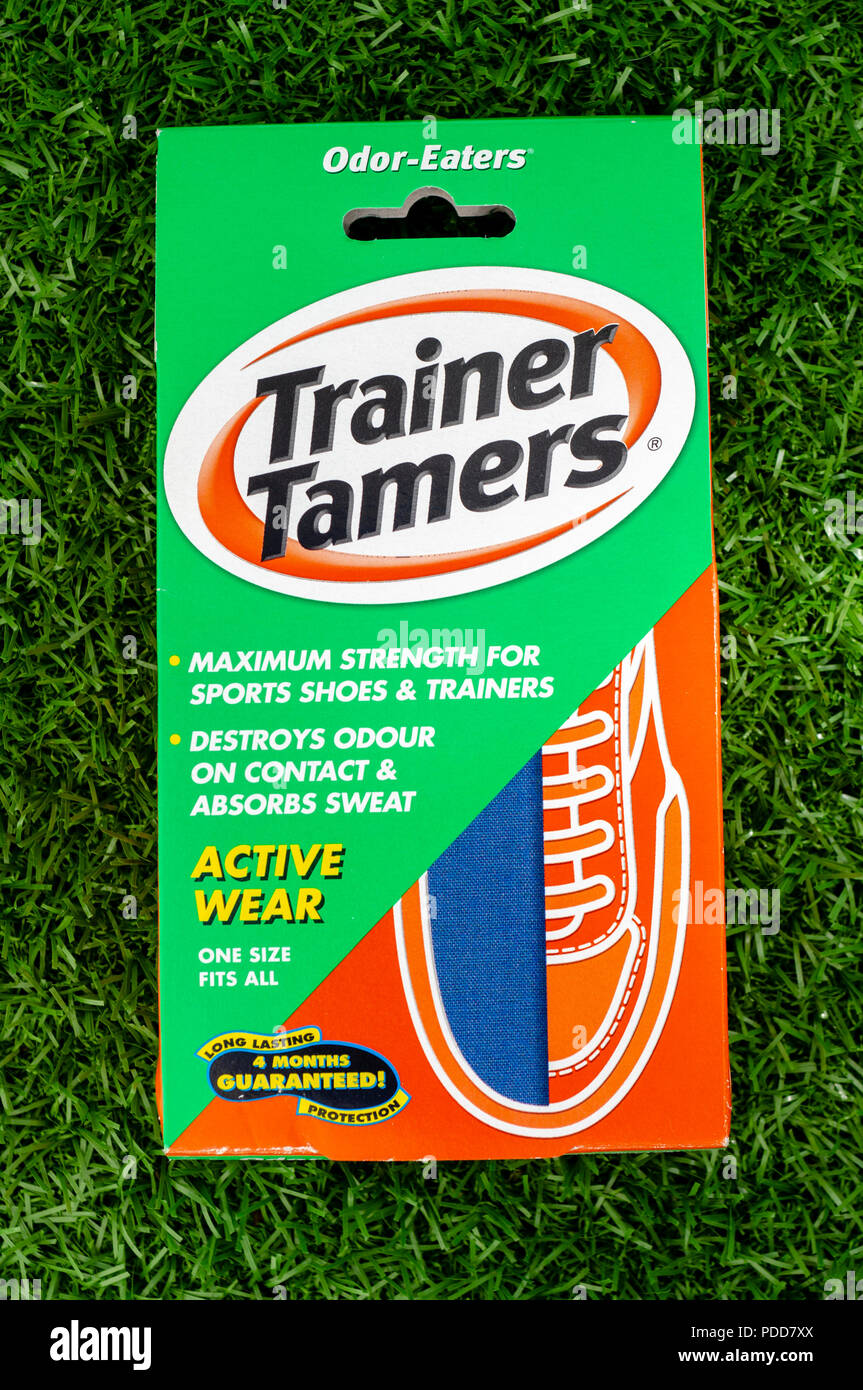 Pack of Trainer Tamers for destroying odours in sports shoes, Made by Odor-Eaters in England. - Stock Image