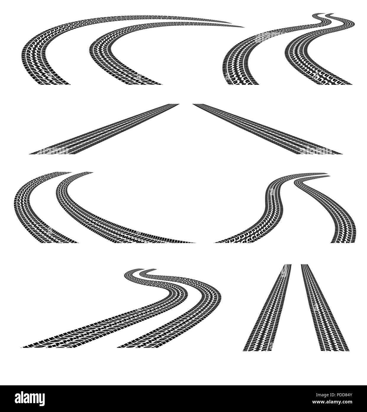 Set of road with tire tracks.Black and white.Clipping Mask. - Stock Image