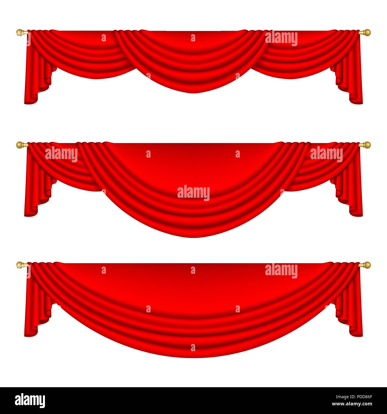 Set of red curtains to theater stage. Mesh. Isolated - Stock Image
