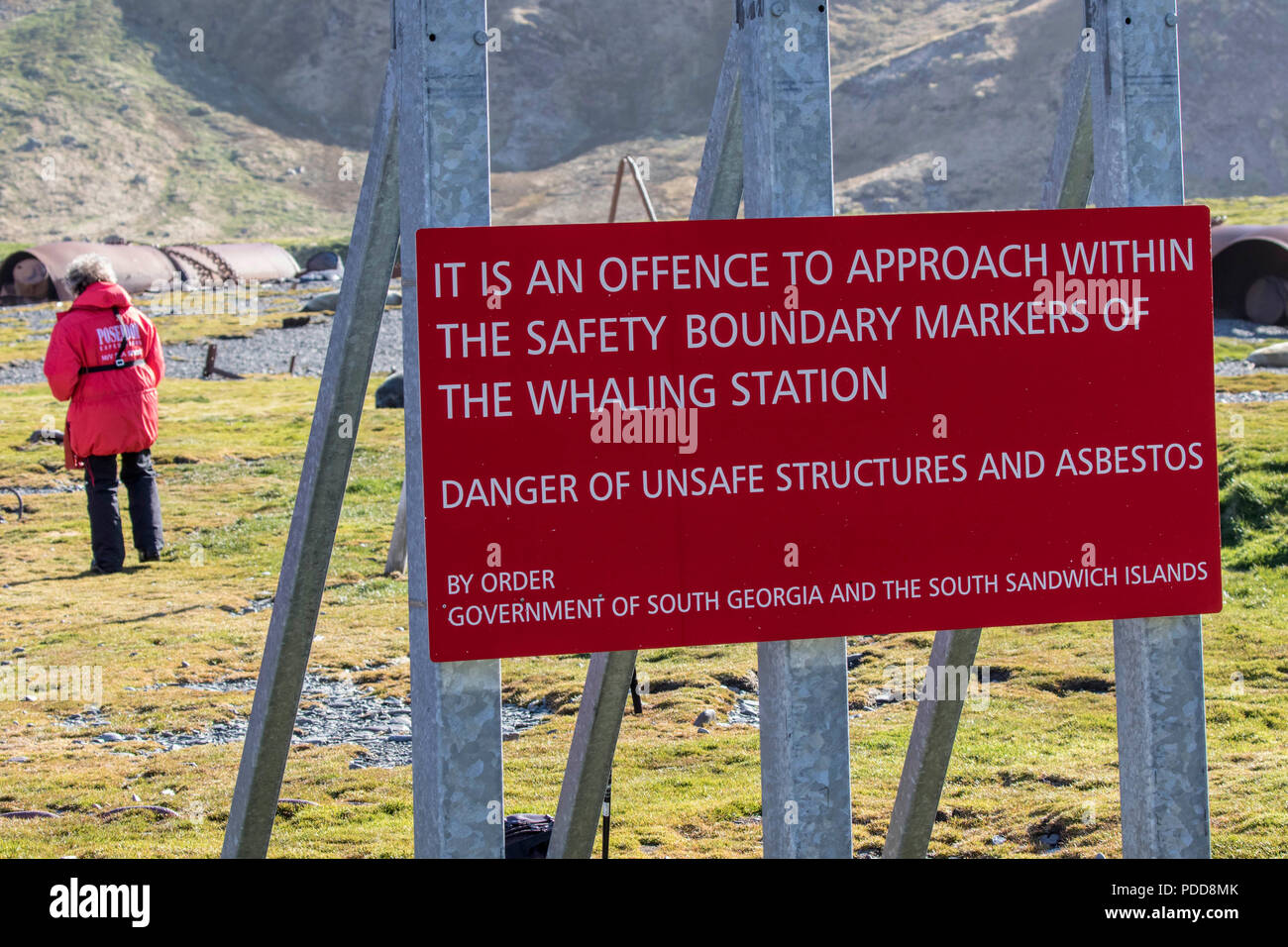 Warning sign at an abandoned whaling station in South Georgia - Stock Image