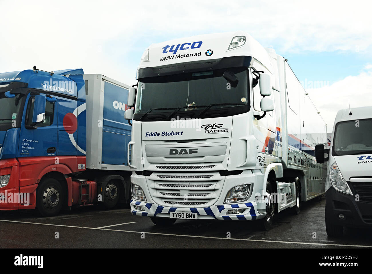DAF race transporter parked in the paddock at Silverstone Stock Photo
