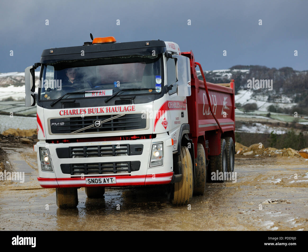 Volvo tipper working in a quarry in North Derbyshire Stock Photo