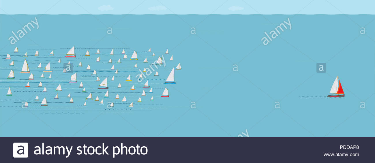 Sailboat ahead of the Competition, Winning, Leaving the Crowd behind, Progress, Achievement, The Best, Wide Format, Sea, Business Strategy Concept - Stock Image