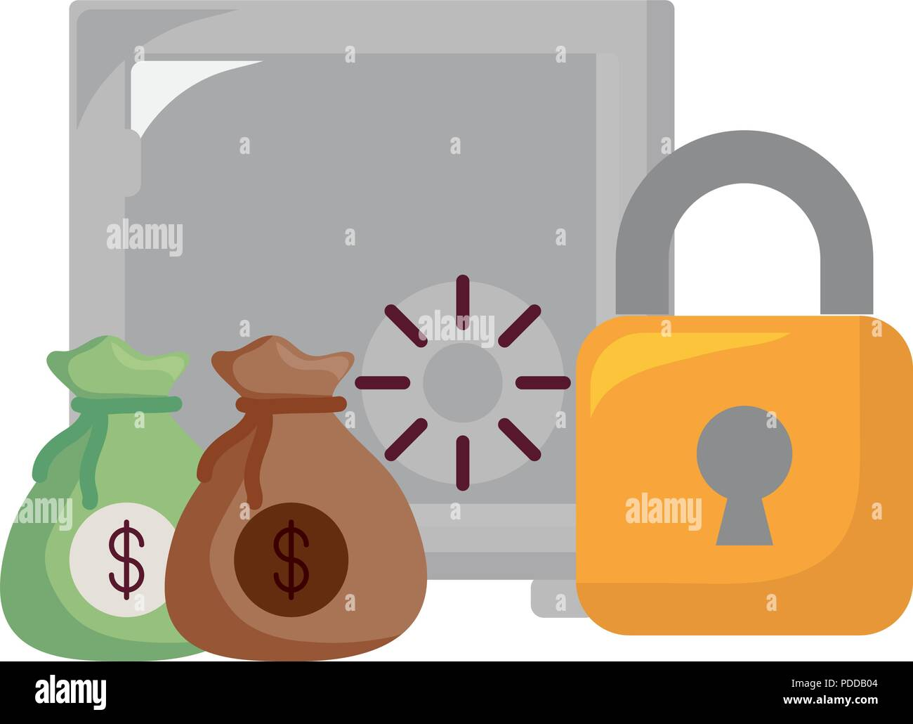 strongbox with padlock and money sacks over white background, vector illustration - Stock Vector