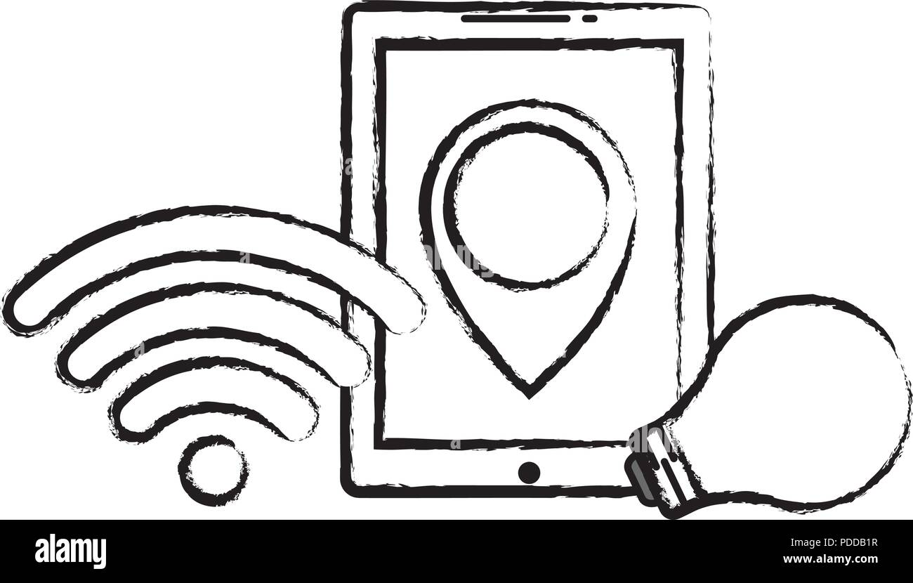 9beb8b3fde9 tablet with wifi symbol and bulb light icon over white background, vector  illustration - Stock