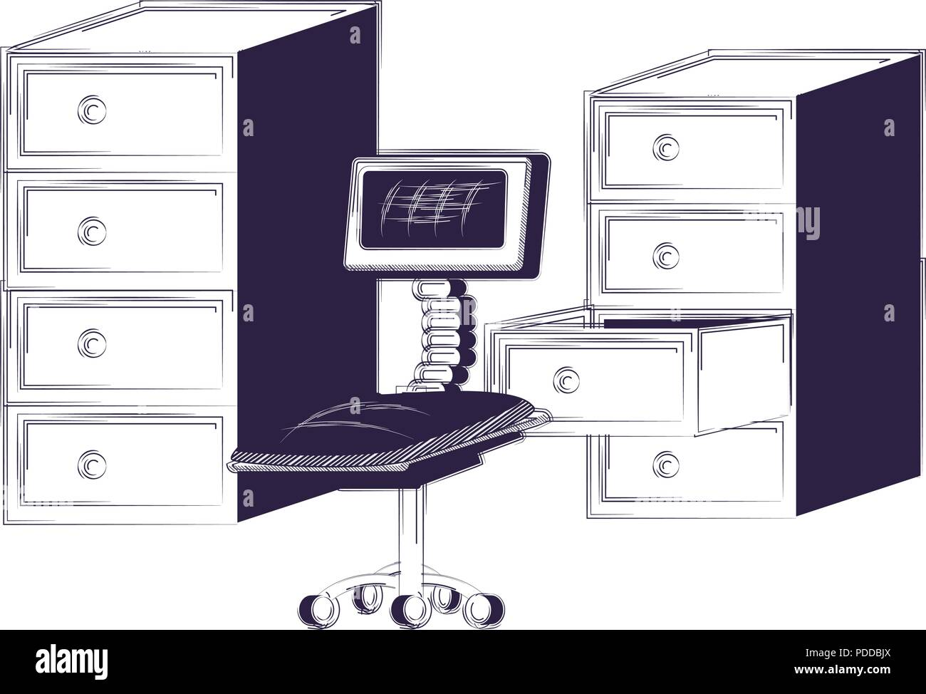 File Cabinets And Desk Chair Over White Background Vector