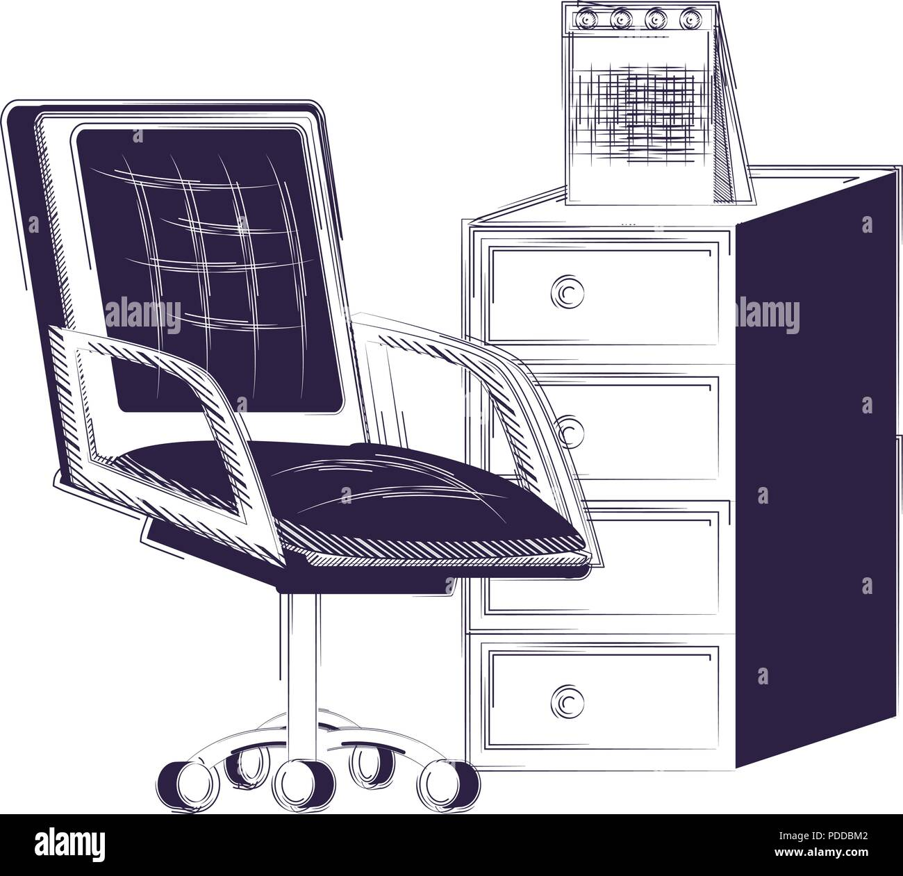 Awe Inspiring File Cabinet And Desk Chair Over White Background Vector Download Free Architecture Designs Momecebritishbridgeorg