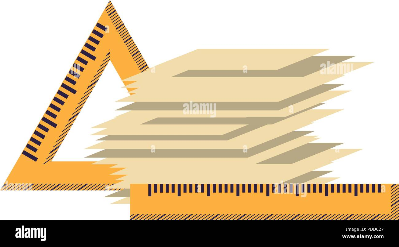 rulers and stack of papers over white background, vector illustration - Stock Vector