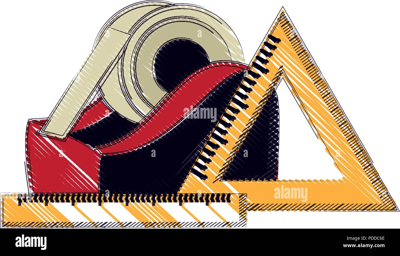 tape dispenser and rulers icon over white background, vector illustration - Stock Image