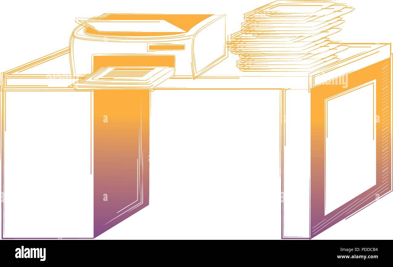 Office Desk With Printer Over White Background Vector Illustration