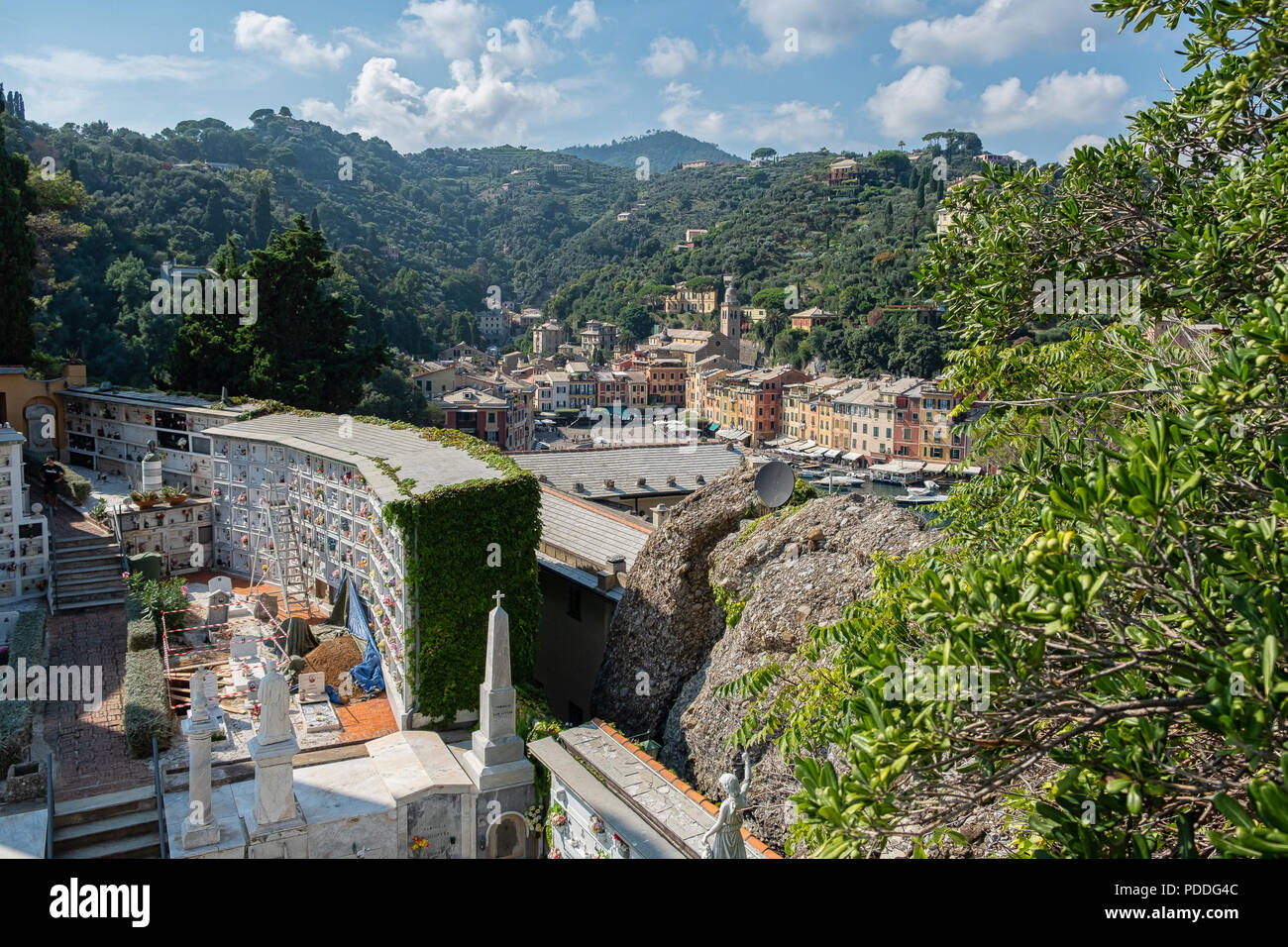 GENOA, ITALY - August 08, 2018:  The suggestive cemetery of Portofino, is located on the Portofino mountain and is very famous because many entreprene - Stock Image