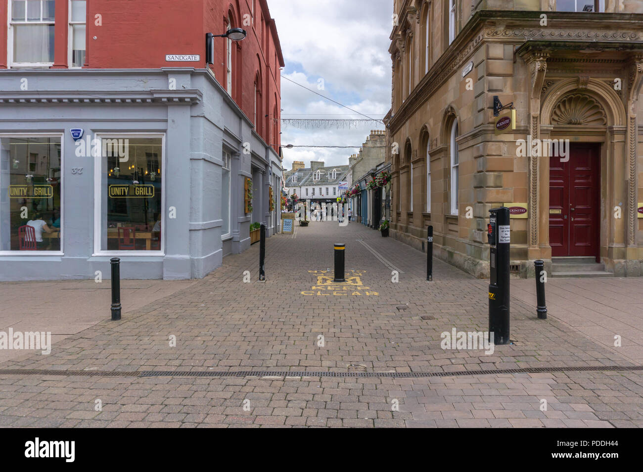 Ayr, Scotland, UK - August 05, 2018: Sandgate in Ayr looking into New market Street with many empty shops and business premises in a town with high un - Stock Image