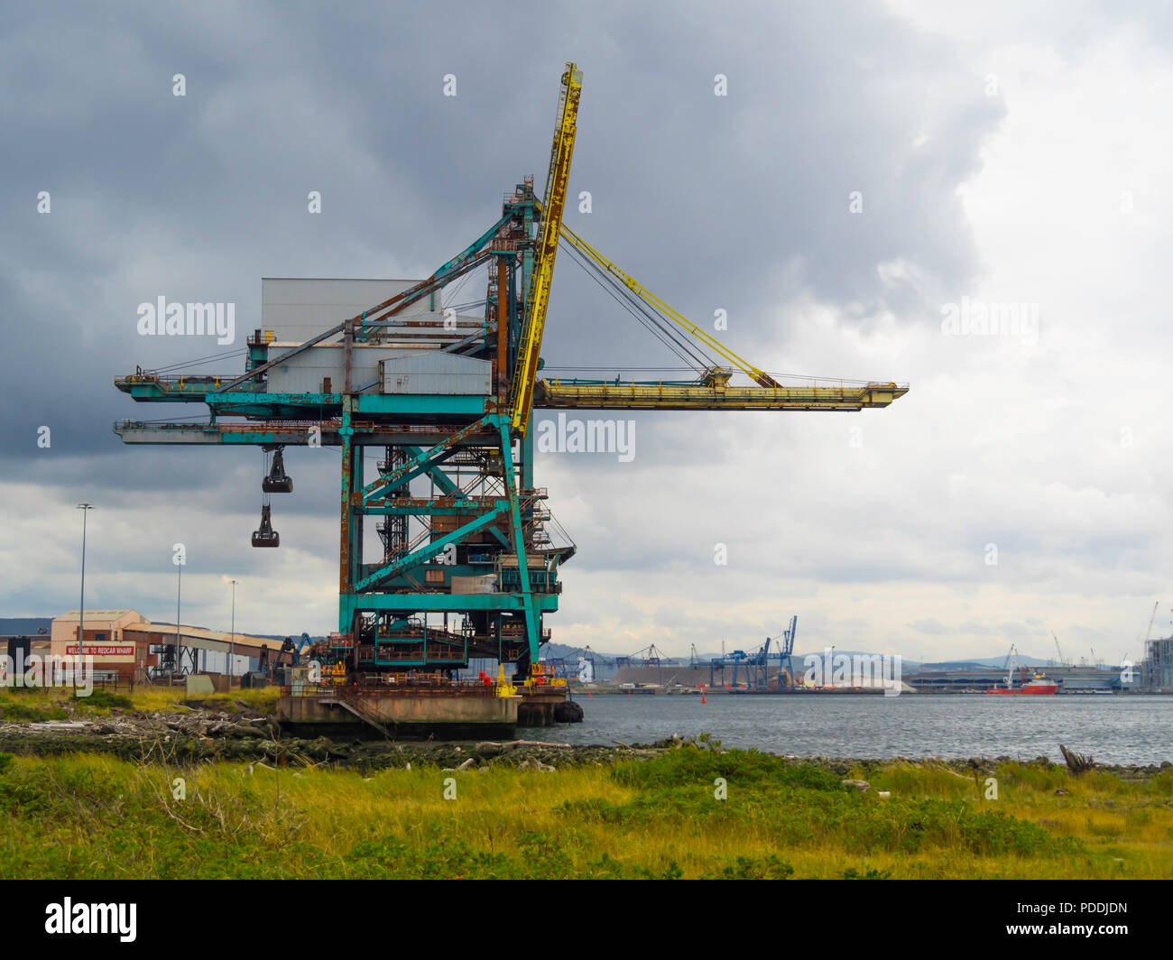 Redcar Bulk Terminal  with a deep water berth on the River Tees and grab cranes for unloading dry cargo from large bulk carrier ships. Stock Photo