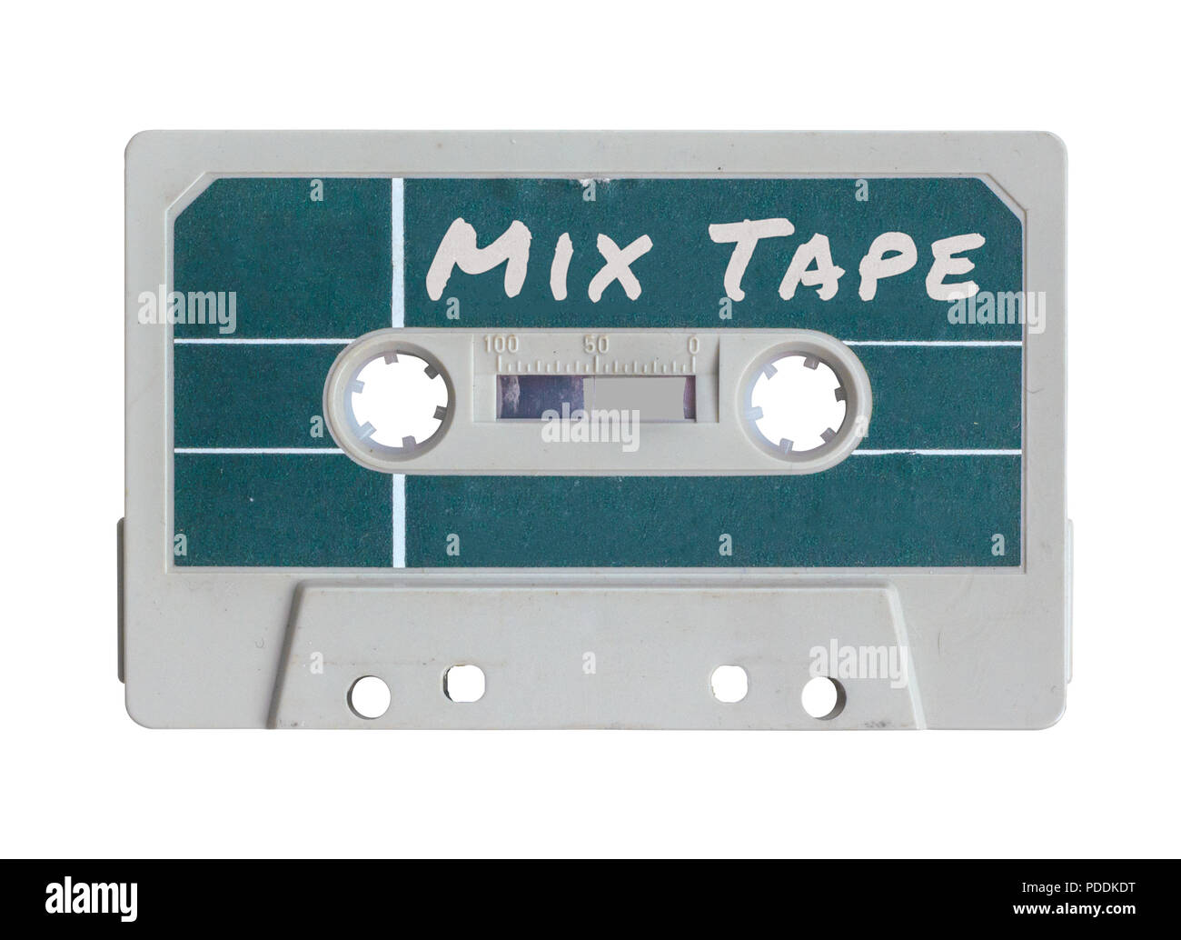 Isolated Grungy Retro Old Plastic Cassette Mix Tape - Stock Image