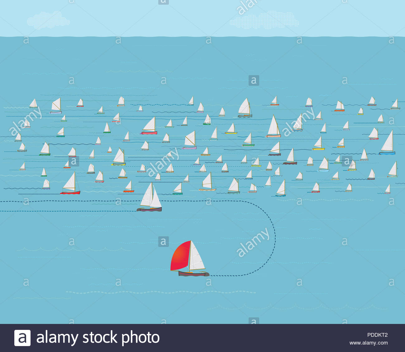 Sailboat changing direction, New Direction, Business Strategy Concept, Nautical , Illustration, Concepts & Topics, Data, Sailing, Timing, Precision - Stock Image