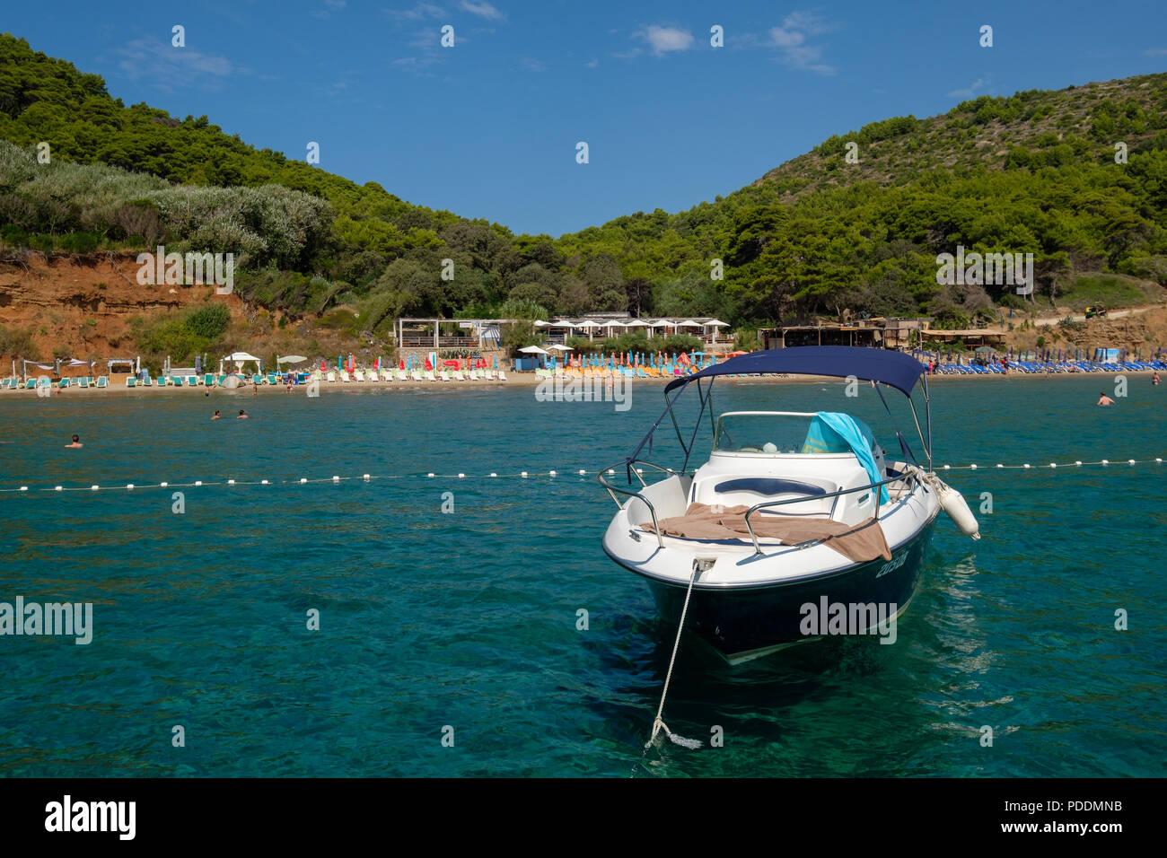 Speed boat anchored in front of the Sunj sandy beach, Lopud Island, Elifiti islands, Croatia - Stock Image