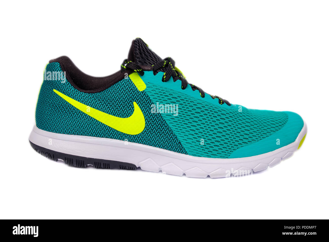 new york 7197c 18a6b Green Nike Flex Experience RN 5 running shoe cut out isolated on white  background