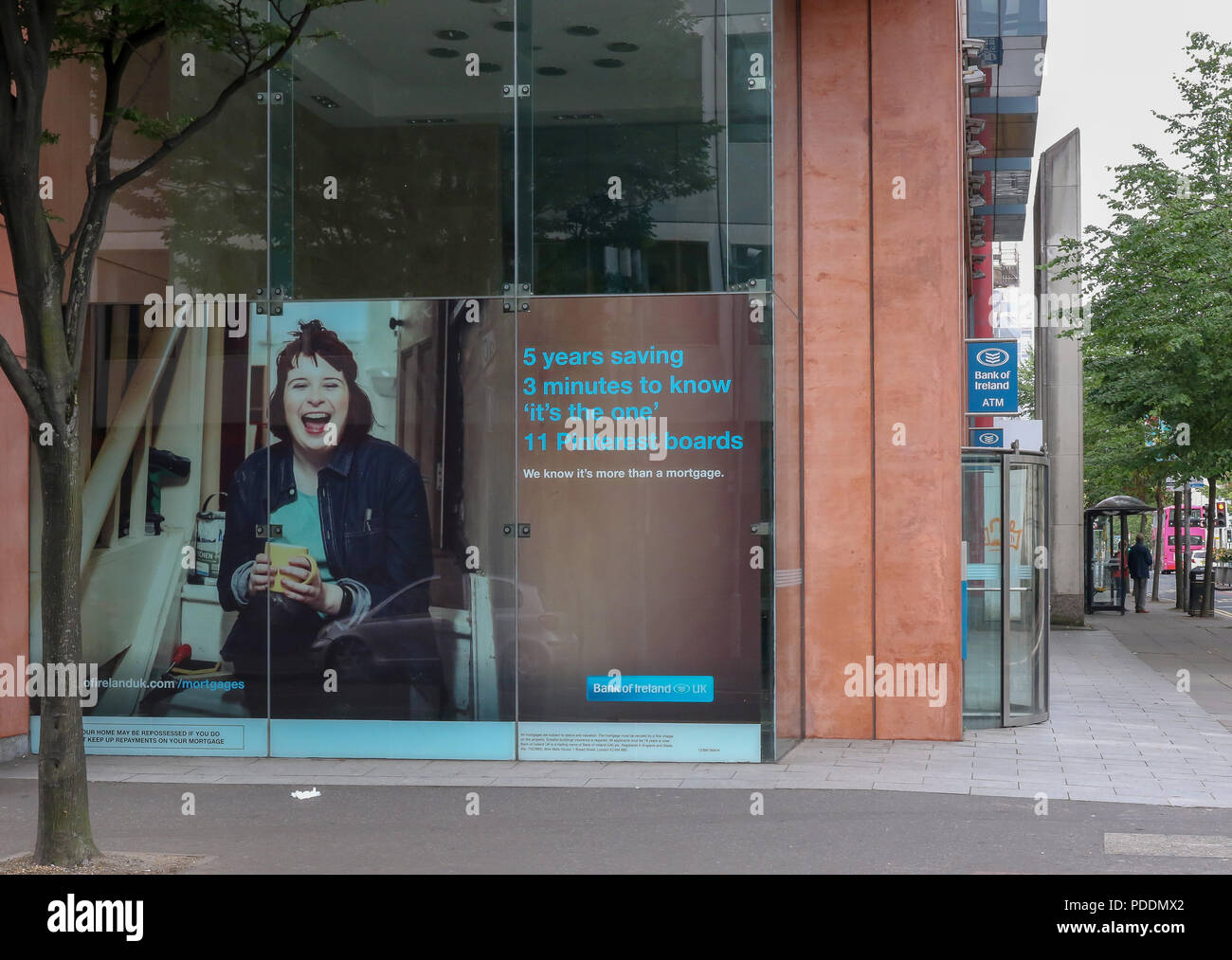Bank of Ireland building and advertisement - Stock Image