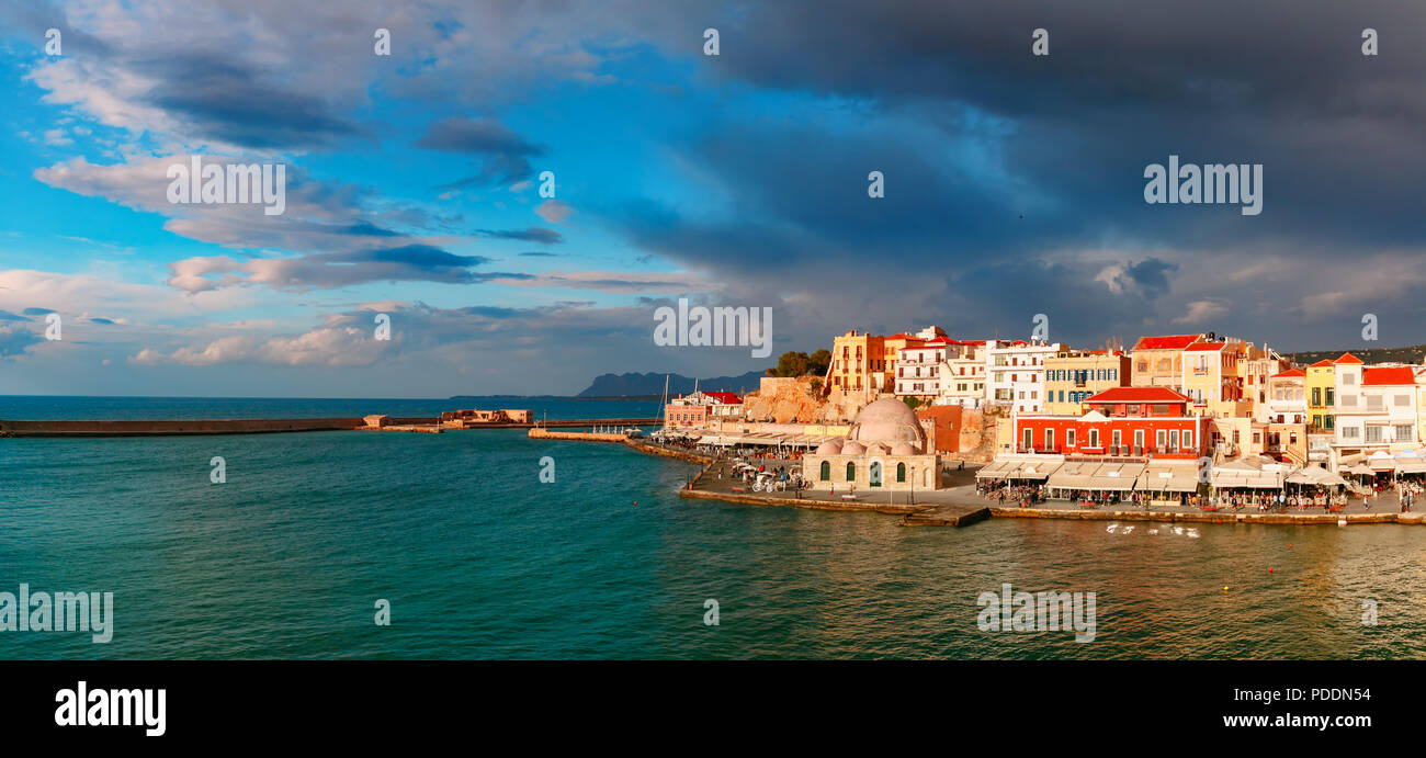 Panorama of old harbour, Chania, Crete, Greece - Stock Image