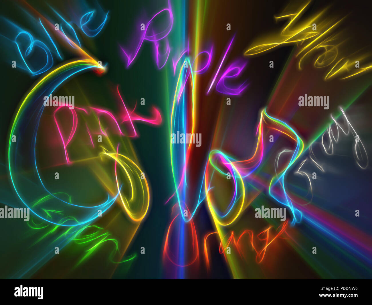 Handwritten words are the same color as the color the word describes. - Stock Image