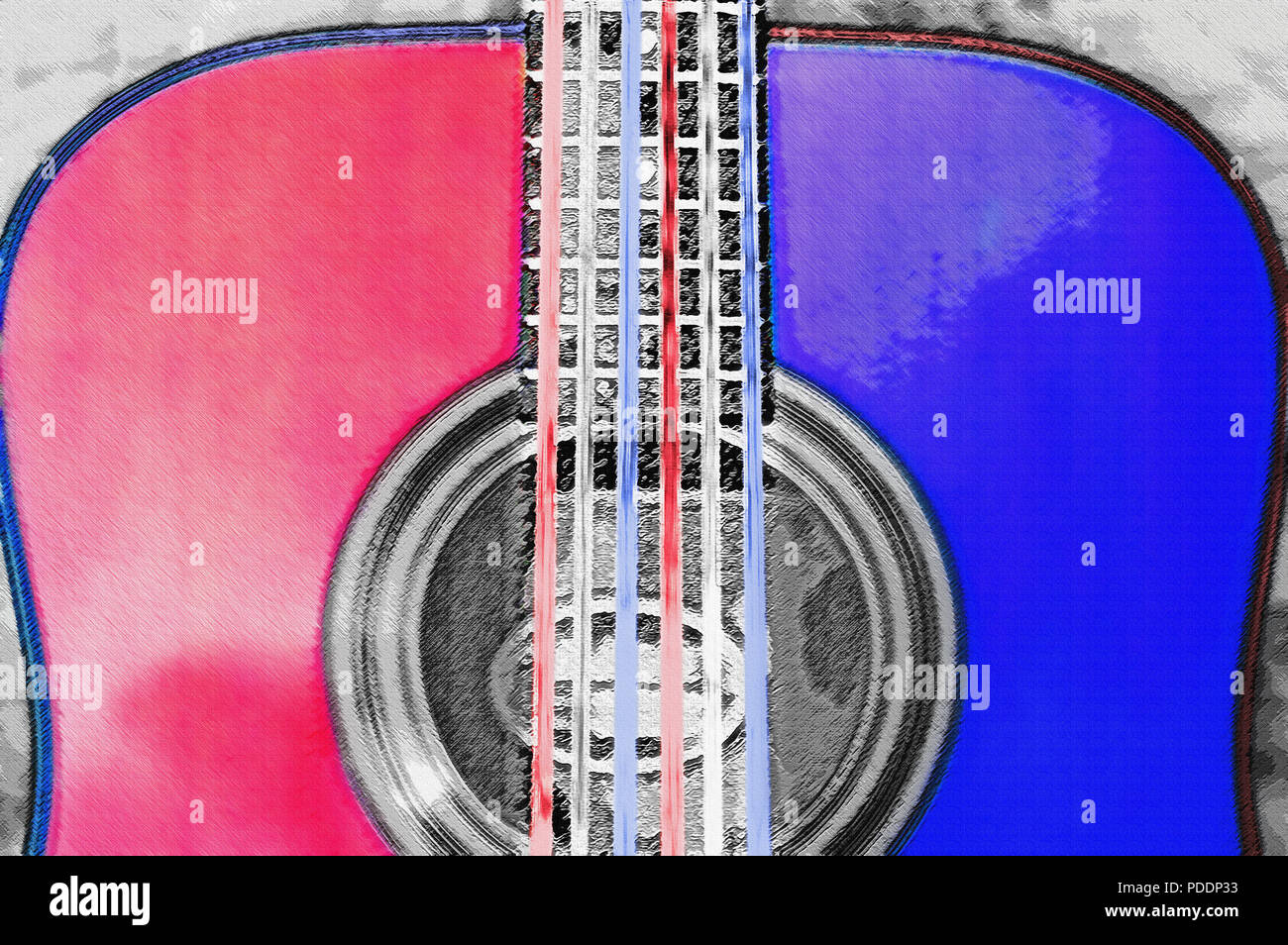 A Close View of the Body of an Acoustic Guitar. You Can See the Rich Color and Grain of the Polished Wood, its Graceful Contours and Fine Craftsmanshi - Stock Image