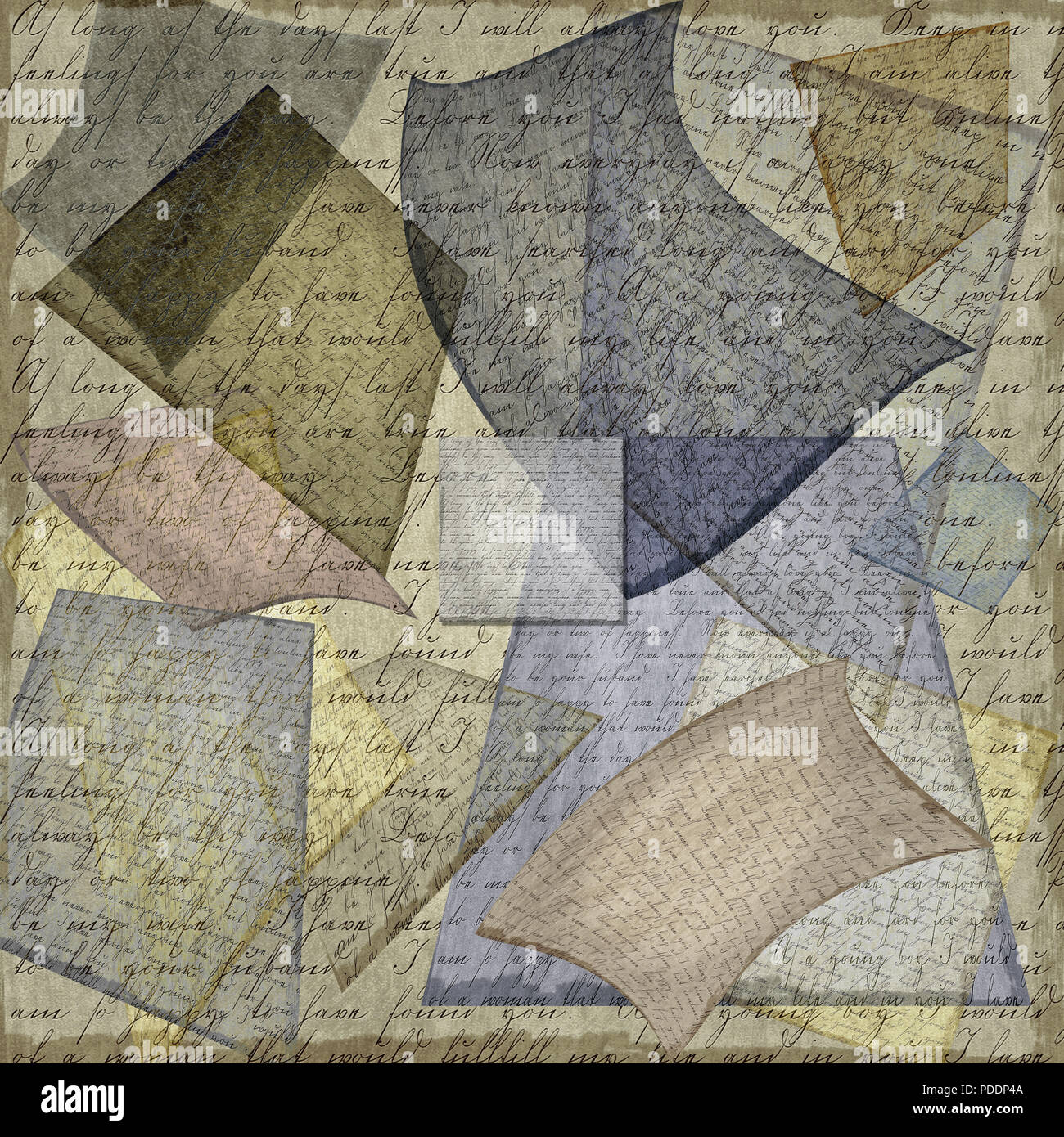 An old handwritten letter has been duplicated, altered, distorted, given multiple tones and hues, and been highly textured to create this intricately  - Stock Image