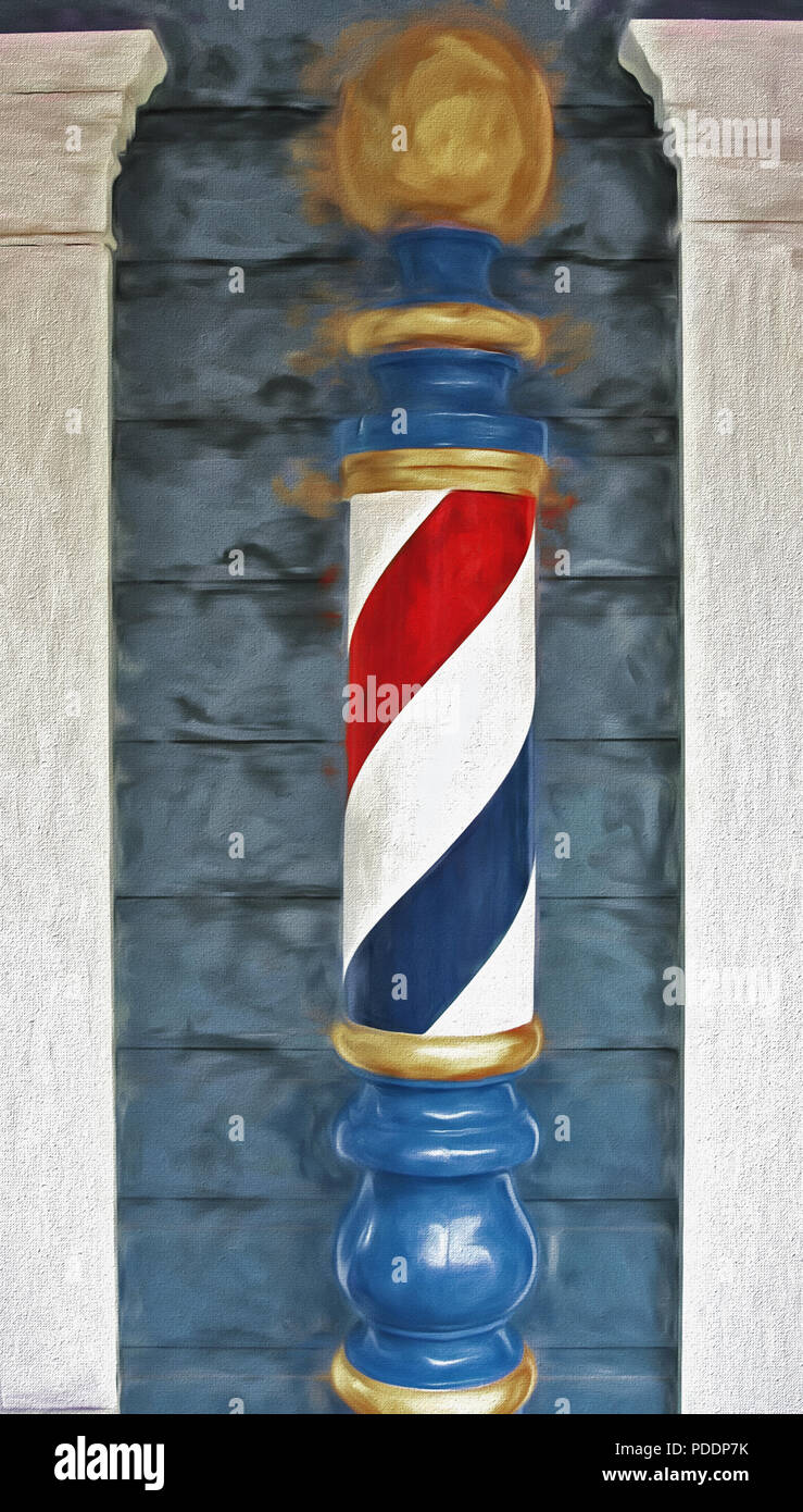 """Old-fashioned barber pole is mounted near the entrance to a """"barber shop"""" in Pioneer Village at the Lagoon Amusement Park in northern Utah. The villag Stock Photo"""