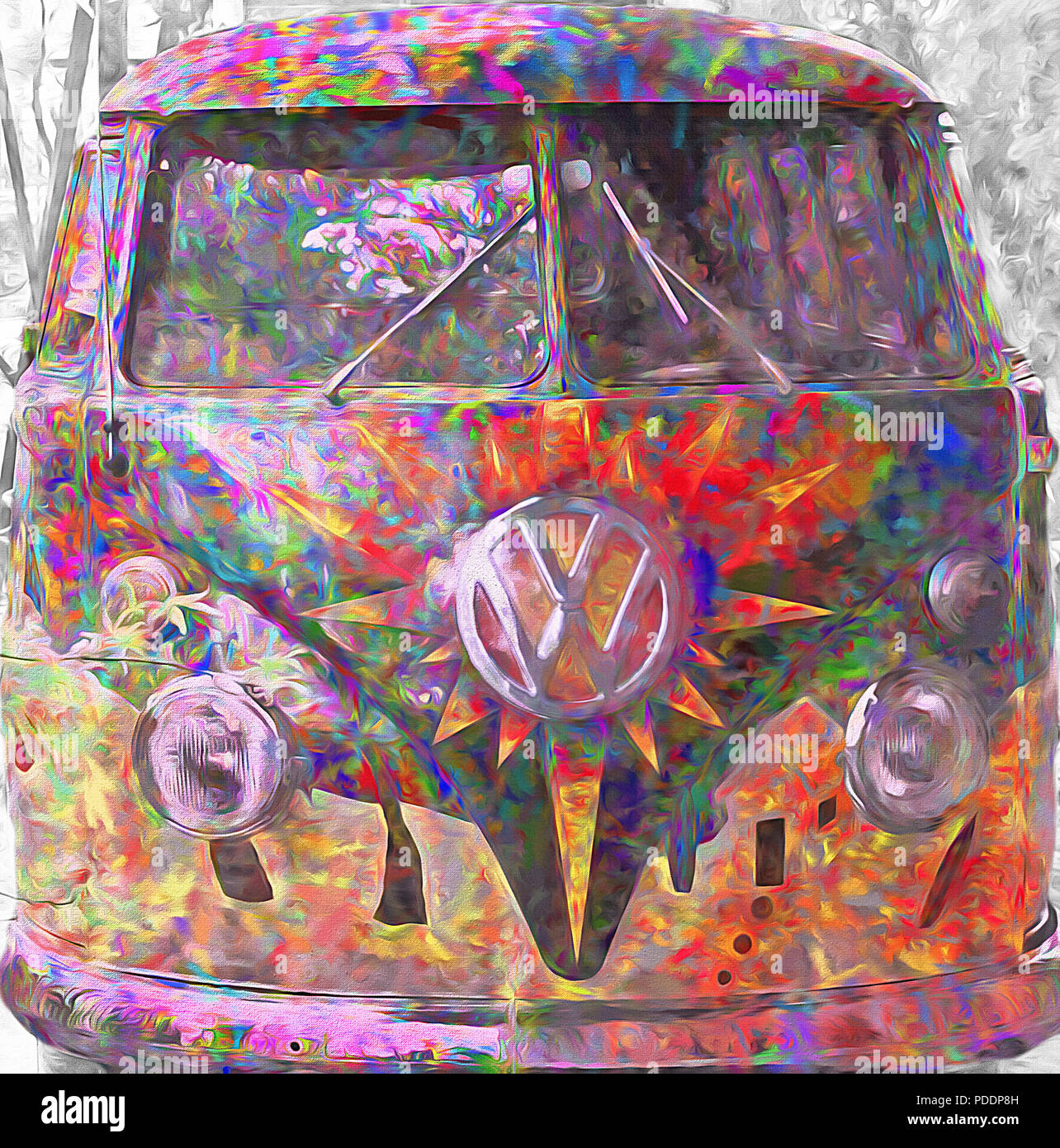 A VW bus is painted in a 'groovy' style and parked as an adornment in front of one of the park rides at the Lagoon Amusement Park in northern Utah. Th - Stock Image