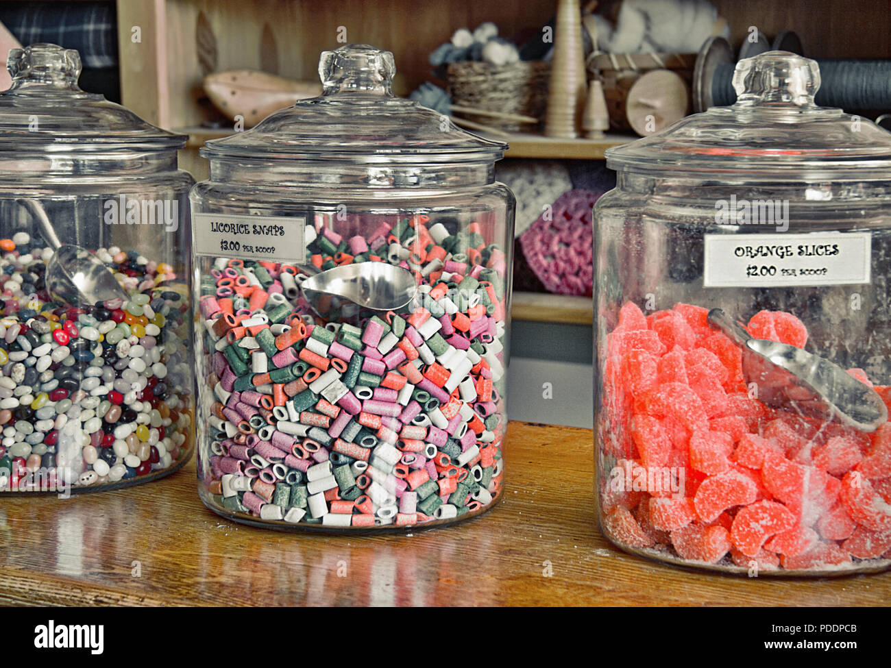 This still life of old-fashioned candy jars atop a shop