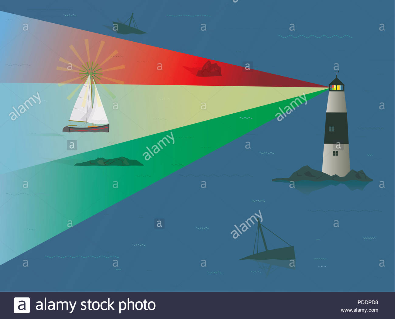 Sail Boat Pilotage, Sailboat being guided by Beacon of Light from Lighthouse, Risk Concept, Skill, Experience, Navigation, Guiding Lights, Timing, Sea - Stock Image