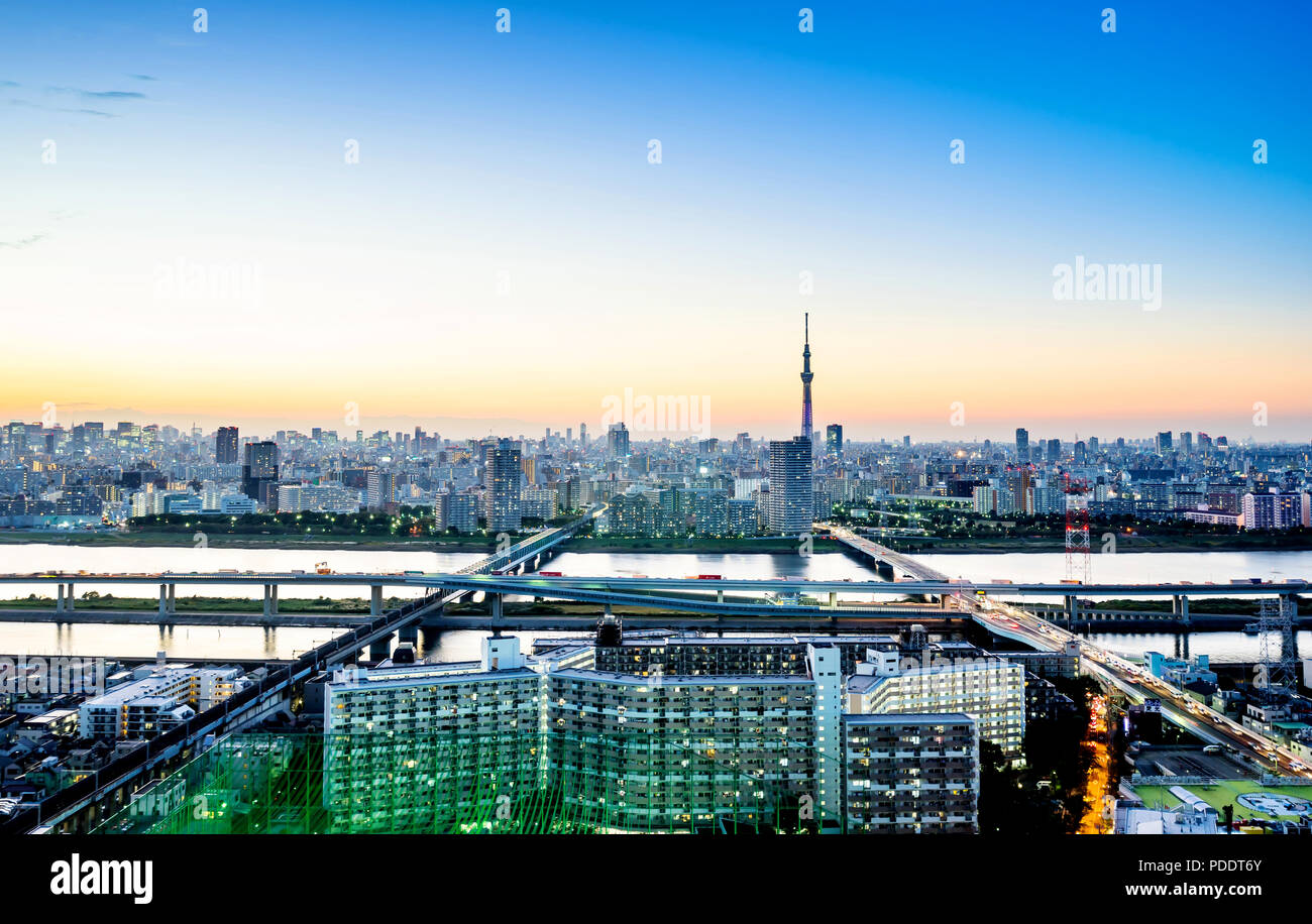 Business concept for real estate corporate construction - panoramic modern city skyline bird eye aerial night view with tokyo skytree under dramatic g - Stock Image